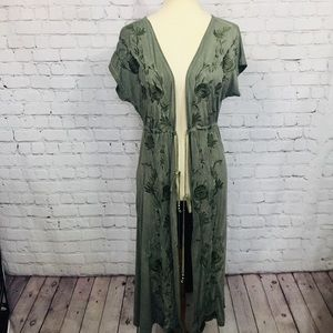 POL EMBROIDERED LONG DUSTER/CARDIGAN